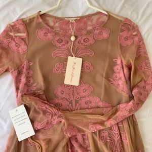 For Love and Lemons Pink Lace Mini Dress